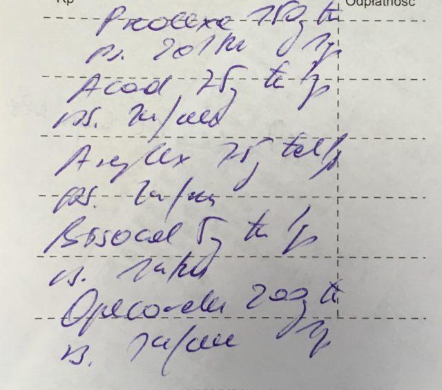 obrazek zawiera receptę o wypisaną niezbyt starannie