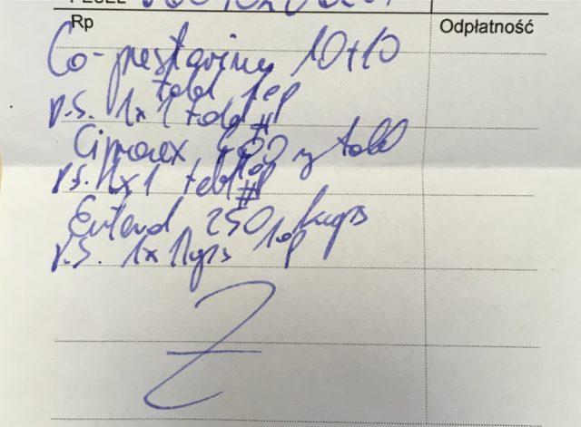obrazek zawiera zdjęcie recepty z błędem w zapisie
