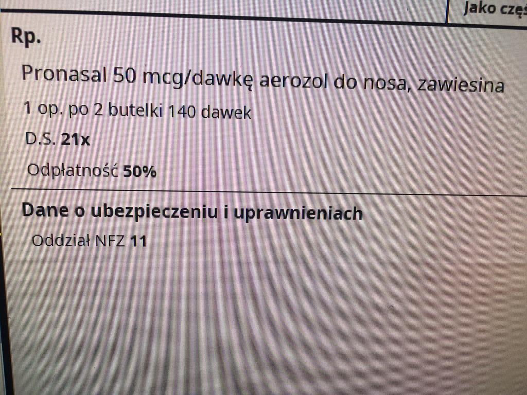 obrazek przedstawia zapis leku na e-recepcie z dziwnym dawkowaniem