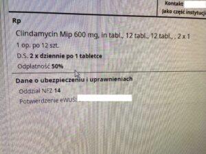 Lekarz pomylił się wystawiając receptę na Clindamycin (fot. rx.edu.pl).